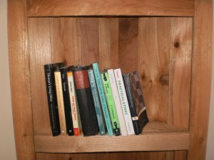 A close up of the shelving and trim as well as a selection from The Stoic's library.