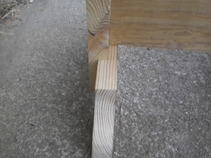 The dado joint connects the leg to the base of the table offering a stronger joint than a simple butt joint would provide.